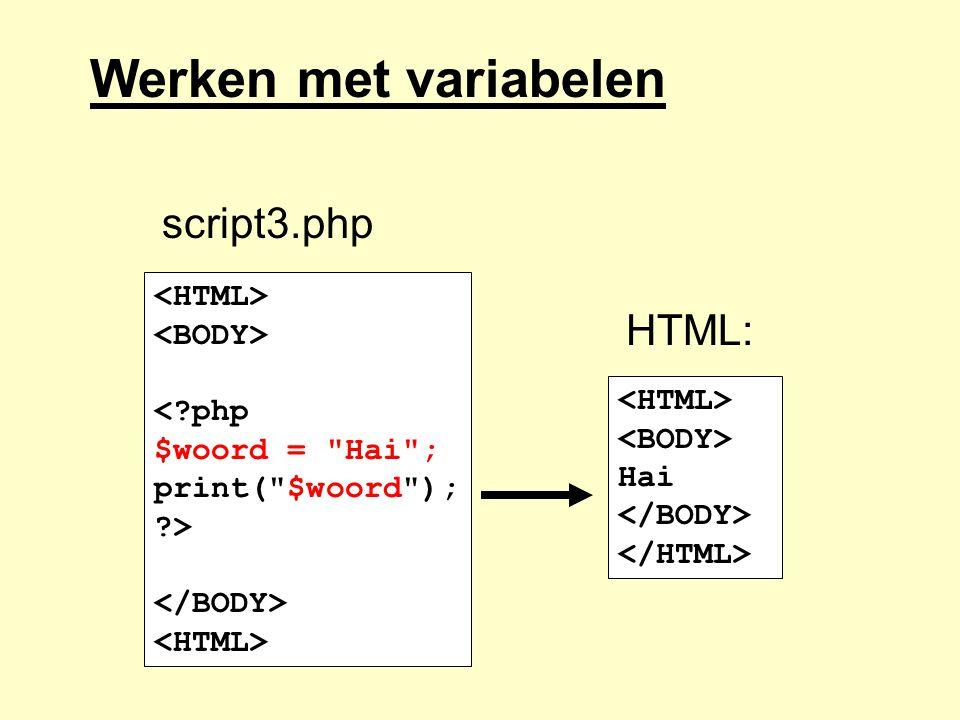 Werken met variabelen <?php $woord =