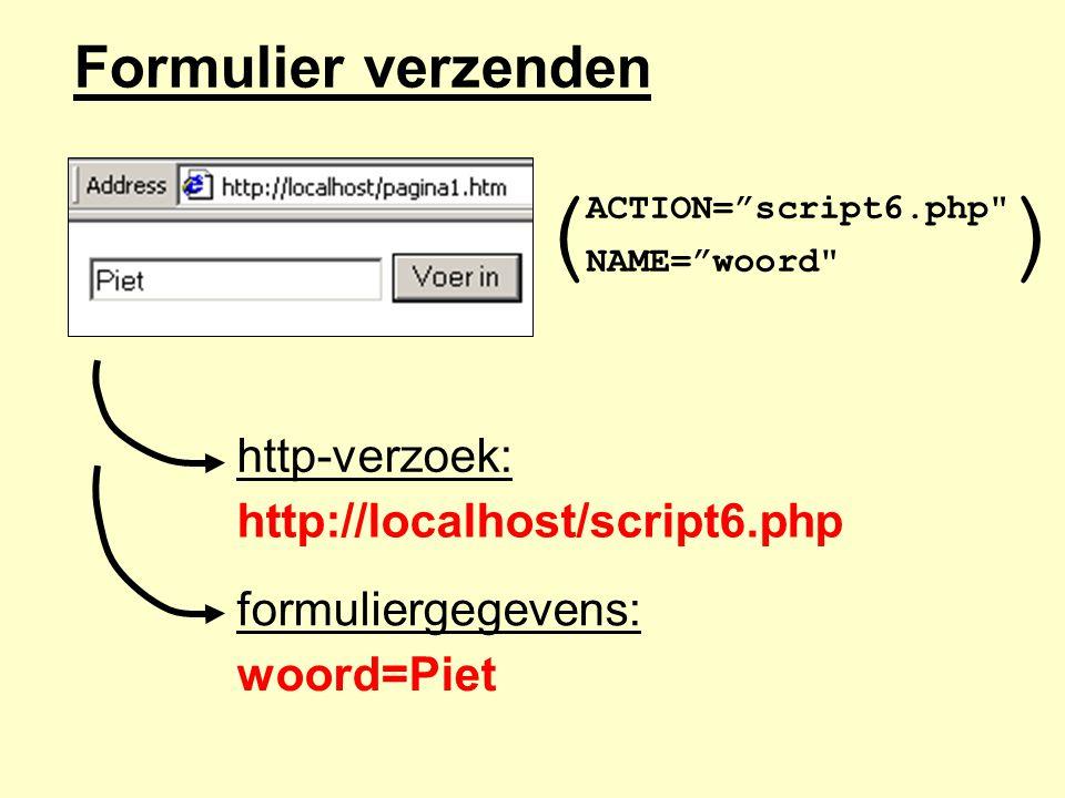 Formulier verzenden ACTION= script6.php NAME= woord http-verzoek: http://localhost/script6.php formuliergegevens: woord=Piet ()