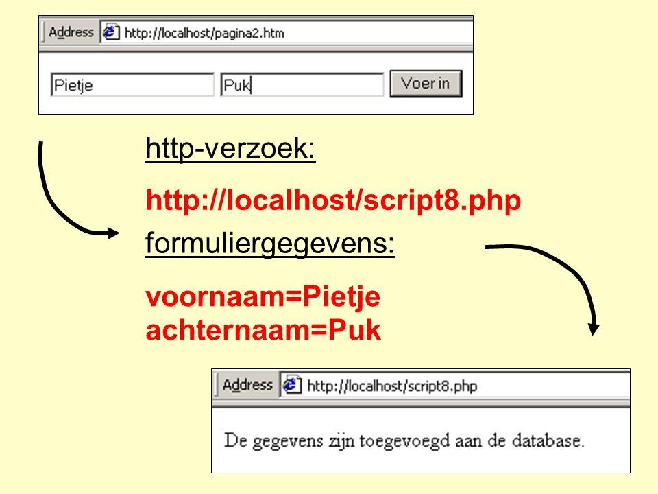 http-verzoek: http://localhost/script8.php formuliergegevens: voornaam=Pietje achternaam=Puk