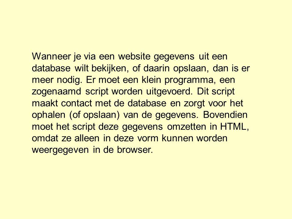Wanneer je via een website gegevens uit een database wilt bekijken, of daarin opslaan, dan is er meer nodig. Er moet een klein programma, een zogenaam