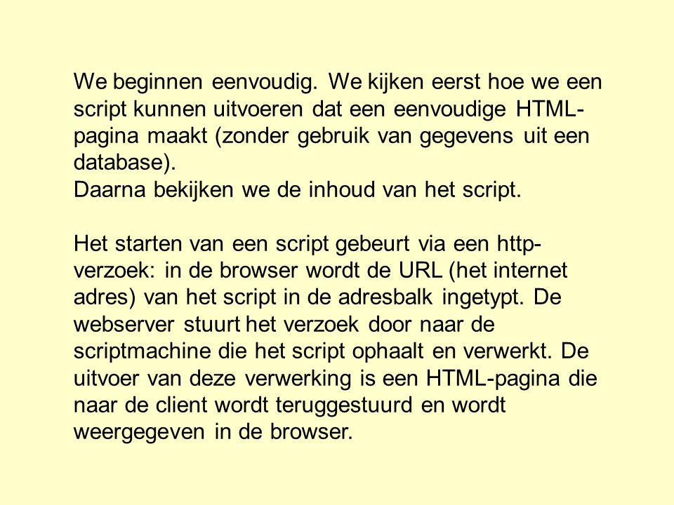 We beginnen eenvoudig. We kijken eerst hoe we een script kunnen uitvoeren dat een eenvoudige HTML- pagina maakt (zonder gebruik van gegevens uit een d