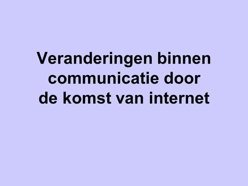 Veranderingen binnen communicatie door de komst van internet
