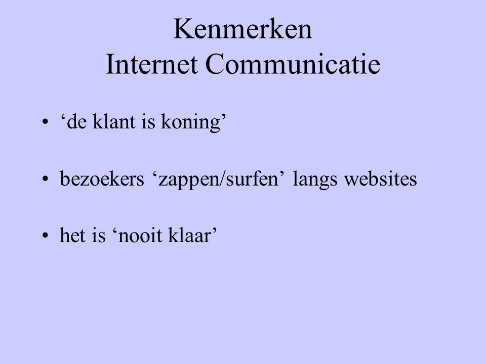 Kenmerken Internet Communicatie 'de klant is koning' bezoekers 'zappen/surfen' langs websites het is 'nooit klaar'