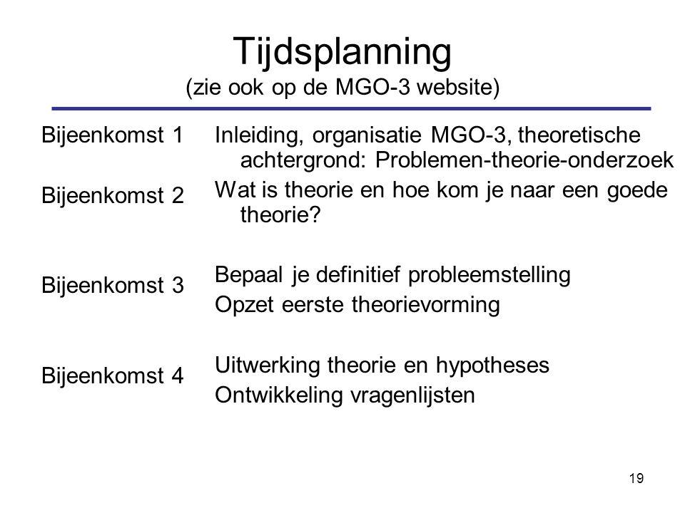 19 Tijdsplanning (zie ook op de MGO-3 website) Bijeenkomst 1 Bijeenkomst 2 Bijeenkomst 3 Bijeenkomst 4 Inleiding, organisatie MGO-3, theoretische achtergrond: Problemen-theorie-onderzoek Wat is theorie en hoe kom je naar een goede theorie.