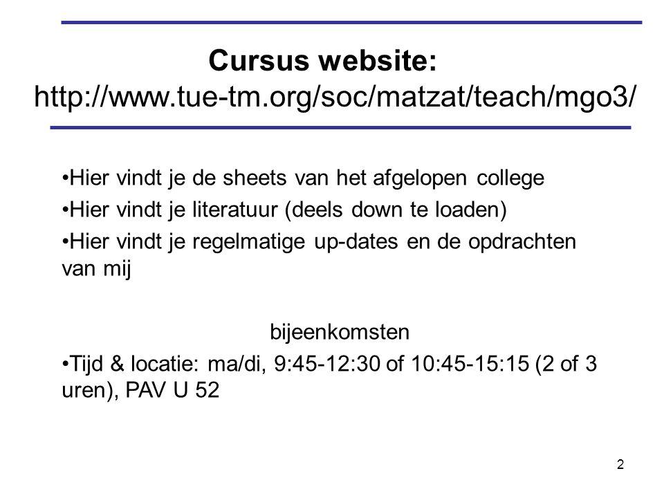 2 Cursus website: http://www.tue-tm.org/soc/matzat/teach/mgo3/ Hier vindt je de sheets van het afgelopen college Hier vindt je literatuur (deels down te loaden) Hier vindt je regelmatige up-dates en de opdrachten van mij bijeenkomsten Tijd & locatie: ma/di, 9:45-12:30 of 10:45-15:15 (2 of 3 uren), PAV U 52