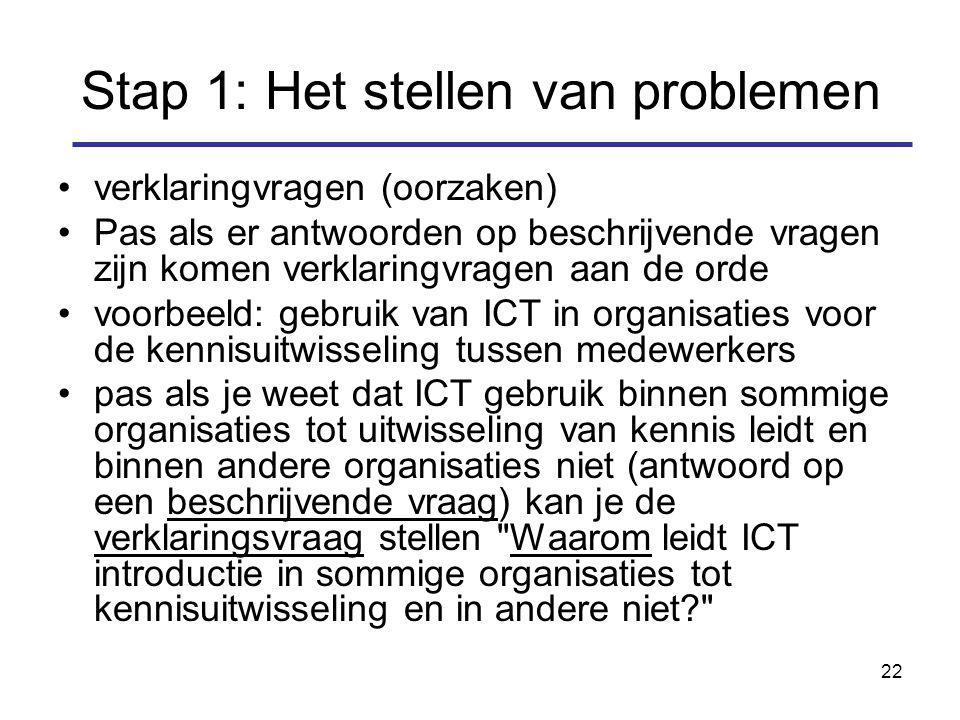 22 Stap 1: Het stellen van problemen verklaringvragen (oorzaken) Pas als er antwoorden op beschrijvende vragen zijn komen verklaringvragen aan de orde voorbeeld: gebruik van ICT in organisaties voor de kennisuitwisseling tussen medewerkers pas als je weet dat ICT gebruik binnen sommige organisaties tot uitwisseling van kennis leidt en binnen andere organisaties niet (antwoord op een beschrijvende vraag) kan je de verklaringsvraag stellen Waarom leidt ICT introductie in sommige organisaties tot kennisuitwisseling en in andere niet