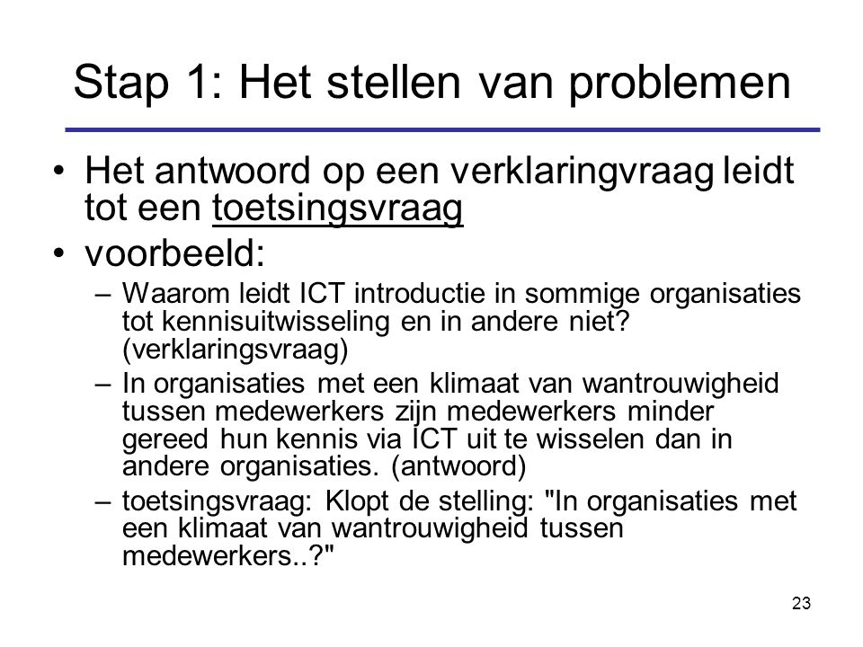 23 Stap 1: Het stellen van problemen Het antwoord op een verklaringvraag leidt tot een toetsingsvraag voorbeeld: –Waarom leidt ICT introductie in sommige organisaties tot kennisuitwisseling en in andere niet.