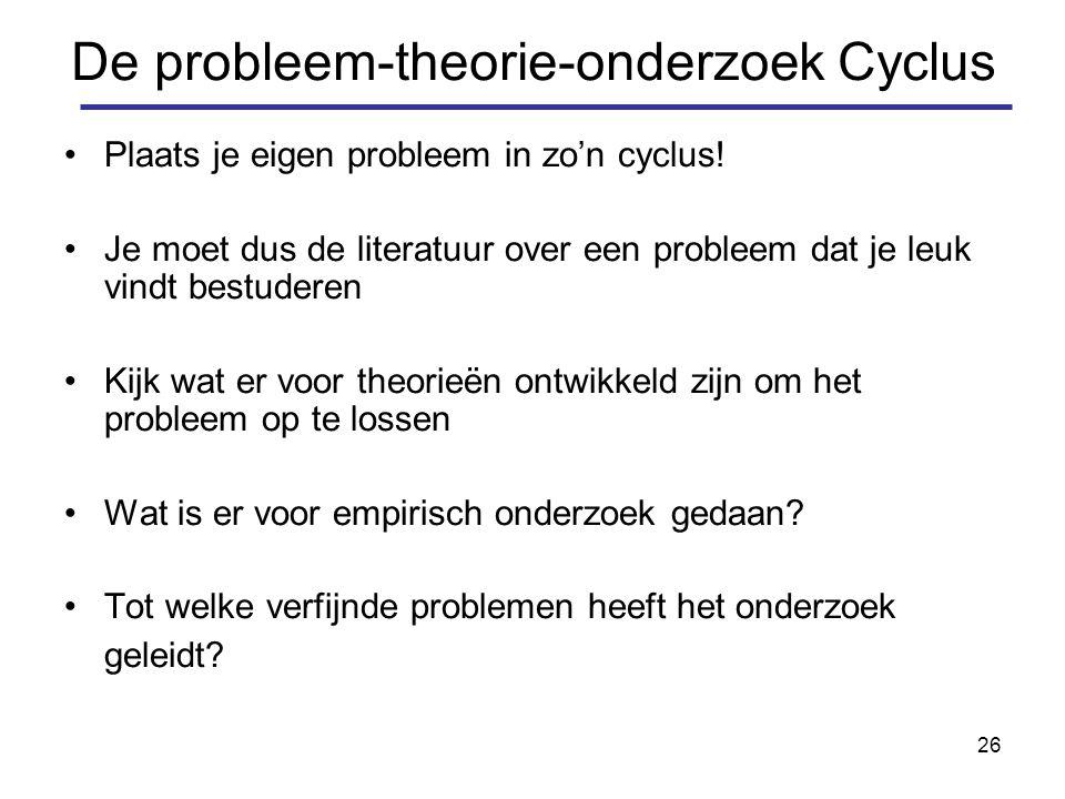 26 De probleem-theorie-onderzoek Cyclus Plaats je eigen probleem in zo'n cyclus.