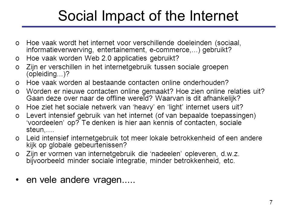 7 oHoe vaak wordt het internet voor verschillende doeleinden (sociaal, informatieverwerving, entertainement, e-commerce,...) gebruikt.