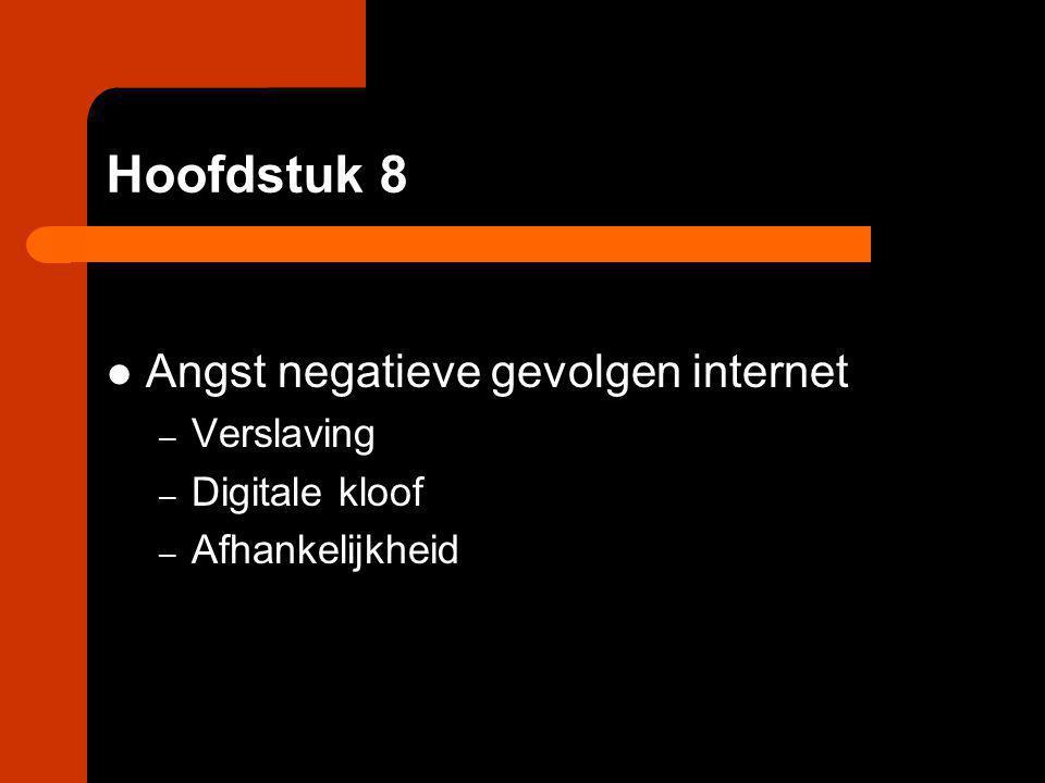 Hoofdstuk 8 Angst negatieve gevolgen internet – Verslaving – Digitale kloof – Afhankelijkheid
