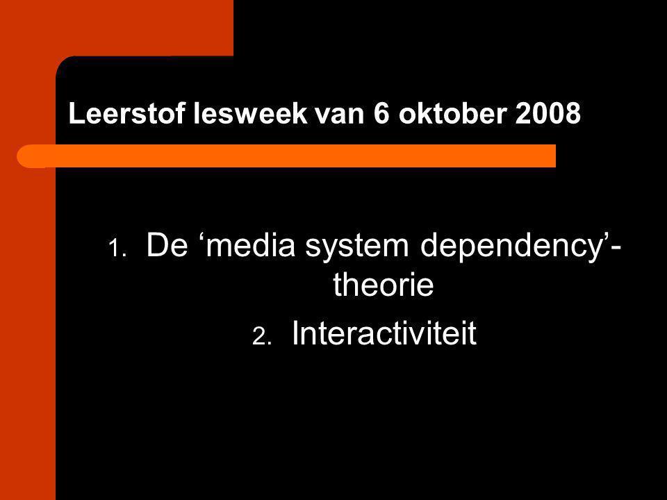 Leerstof lesweek van 6 oktober 2008 1. De 'media system dependency'- theorie 2. Interactiviteit
