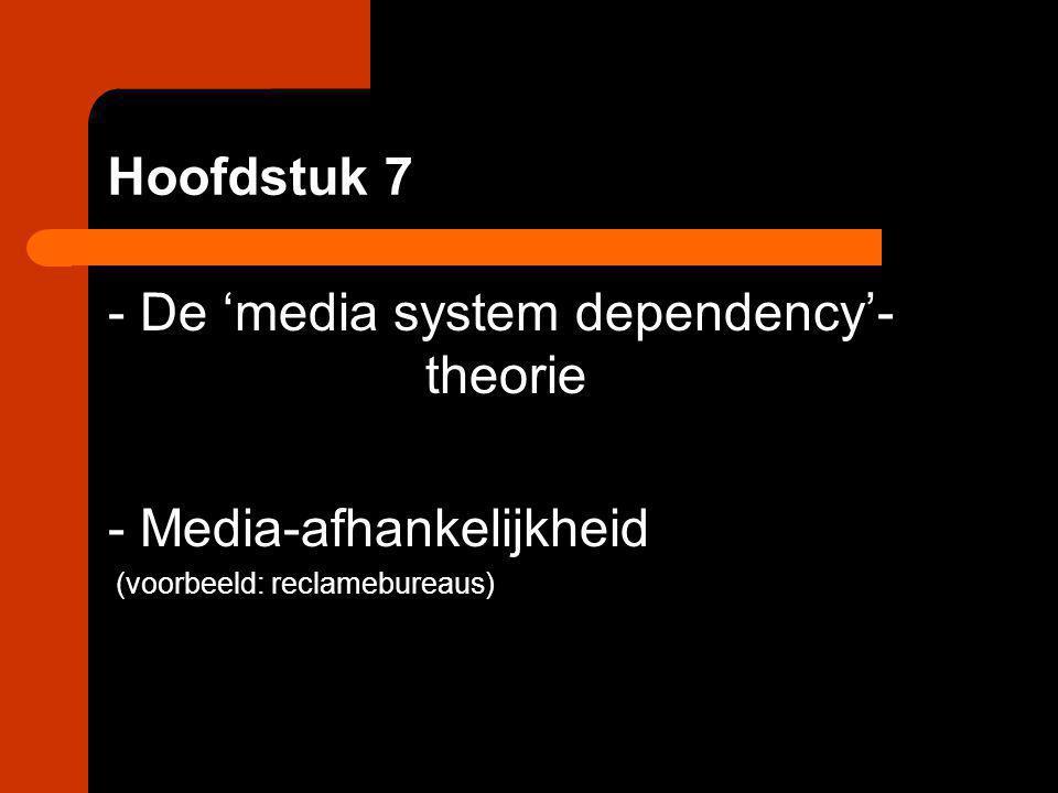 Hoofdstuk 7 - De 'media system dependency'- theorie - Media-afhankelijkheid (voorbeeld: reclamebureaus)