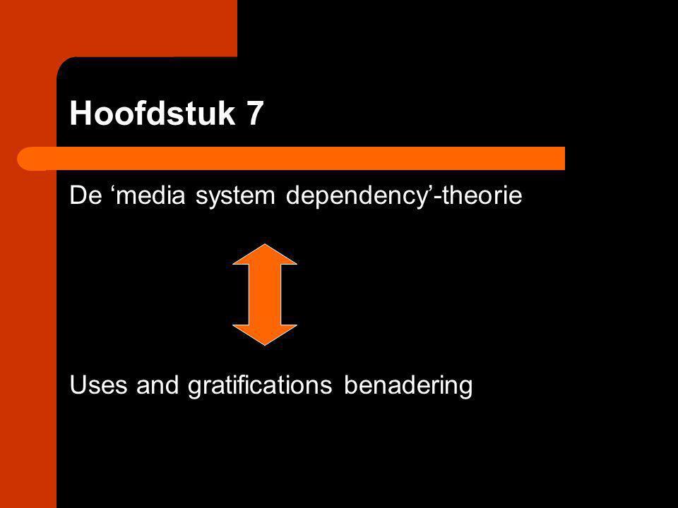 Hoofdstuk 7 De 'media system dependency'-theorie Uses and gratifications benadering