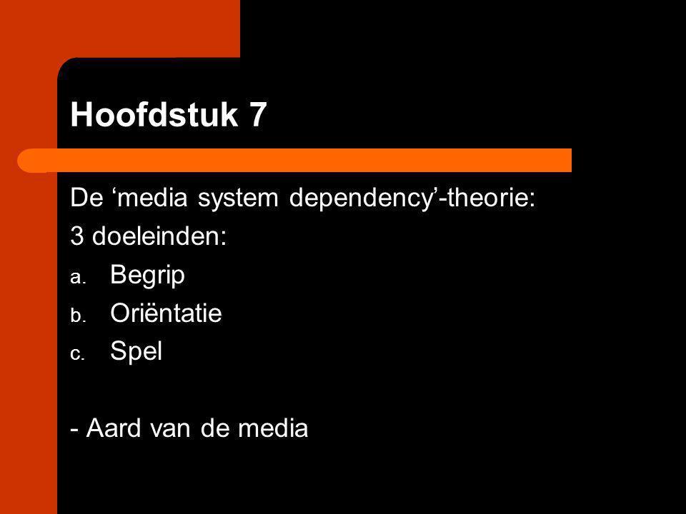 Hoofdstuk 7 De 'media system dependency'-theorie: 3 doeleinden: a. Begrip b. Oriëntatie c. Spel - Aard van de media