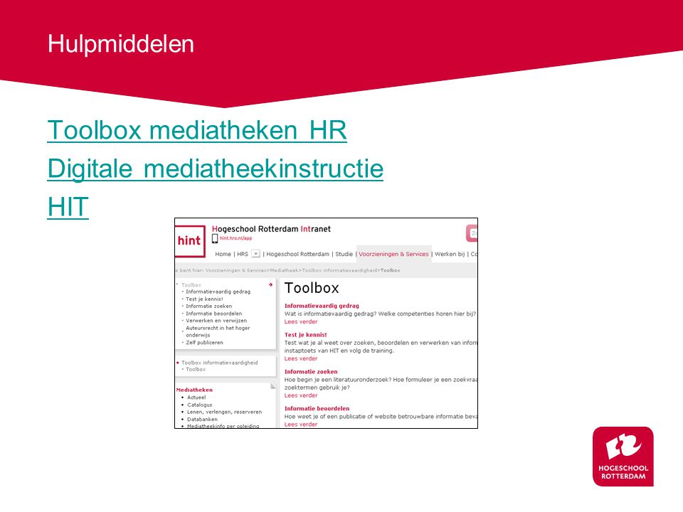 Hulpmiddelen Toolbox mediatheken HR Digitale mediatheekinstructie HIT