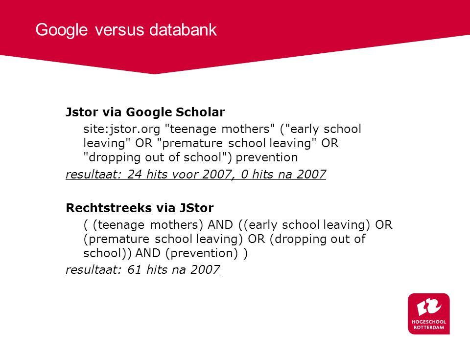 Google versus databank Jstor via Google Scholar site:jstor.org