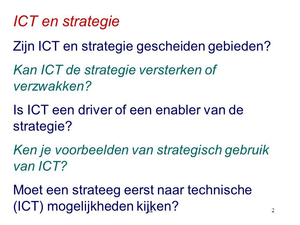 h22 ICT en strategie Zijn ICT en strategie gescheiden gebieden? Kan ICT de strategie versterken of verzwakken? Is ICT een driver of een enabler van de