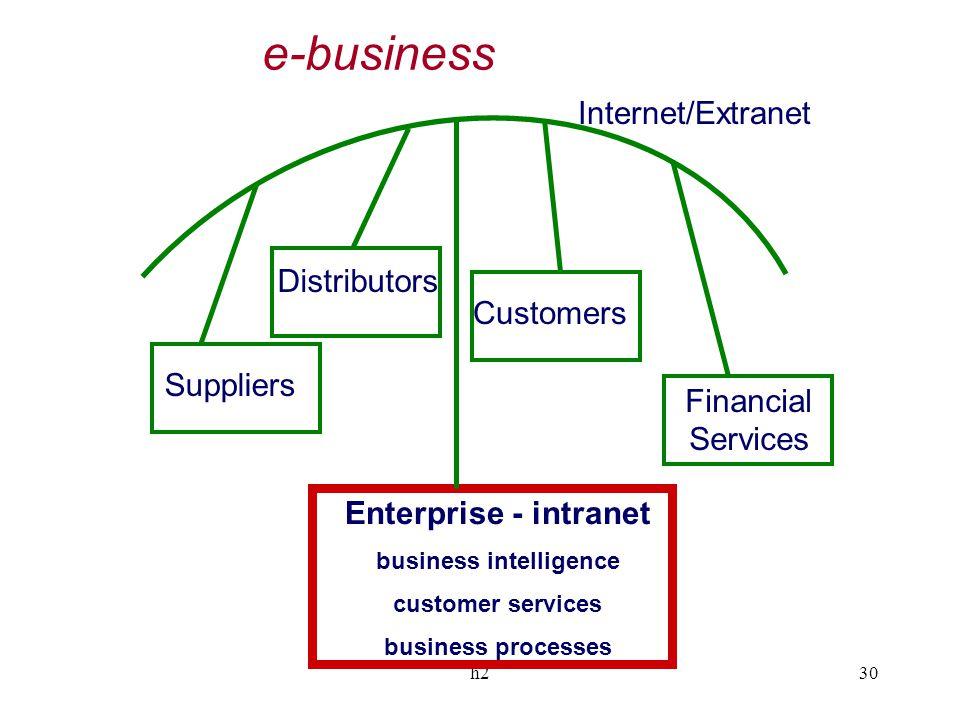 h230 Suppliers Customers Financial Services Distributors Enterprise - intranet business intelligence customer services business processes Internet/Ext