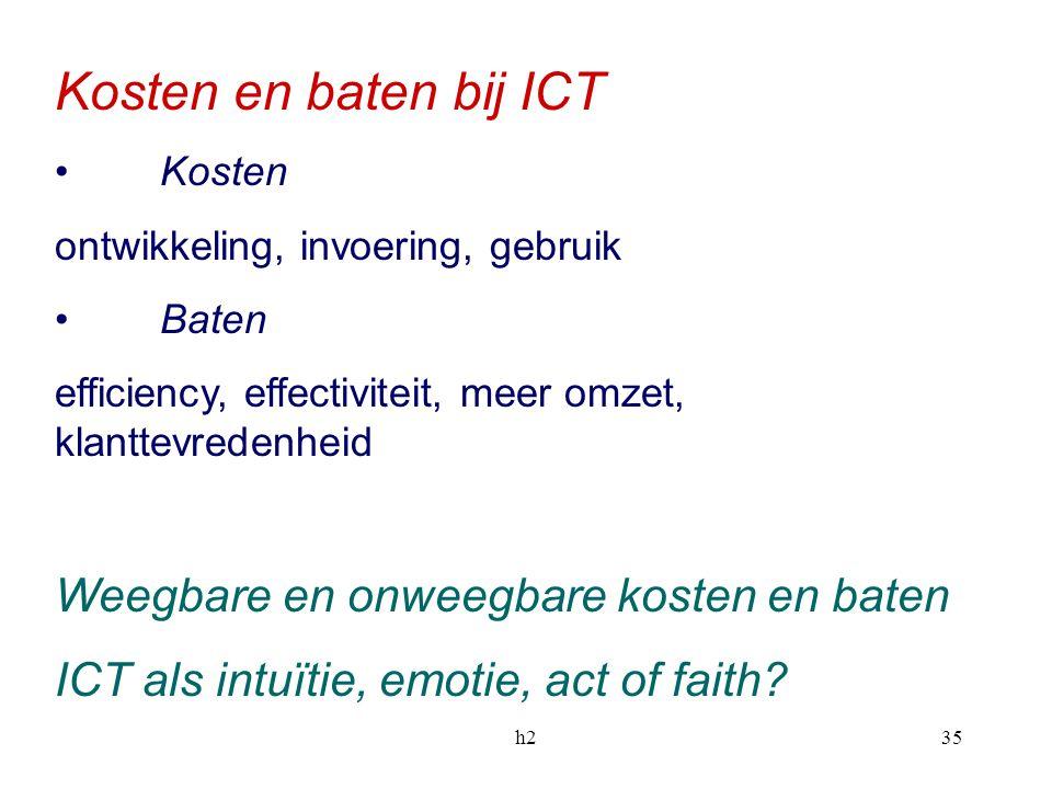 h235 Kosten en baten bij ICT Kosten ontwikkeling, invoering, gebruik Baten efficiency, effectiviteit, meer omzet, klanttevredenheid Weegbare en onweeg