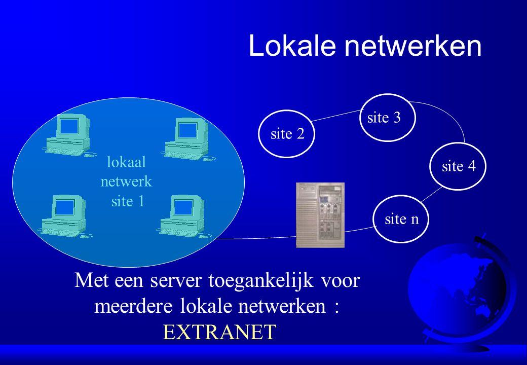 lokaal netwerk site 1 site 2 site 3 site 4 site n Lokale netwerken Met een server toegankelijk voor meerdere lokale netwerken : EXTRANET