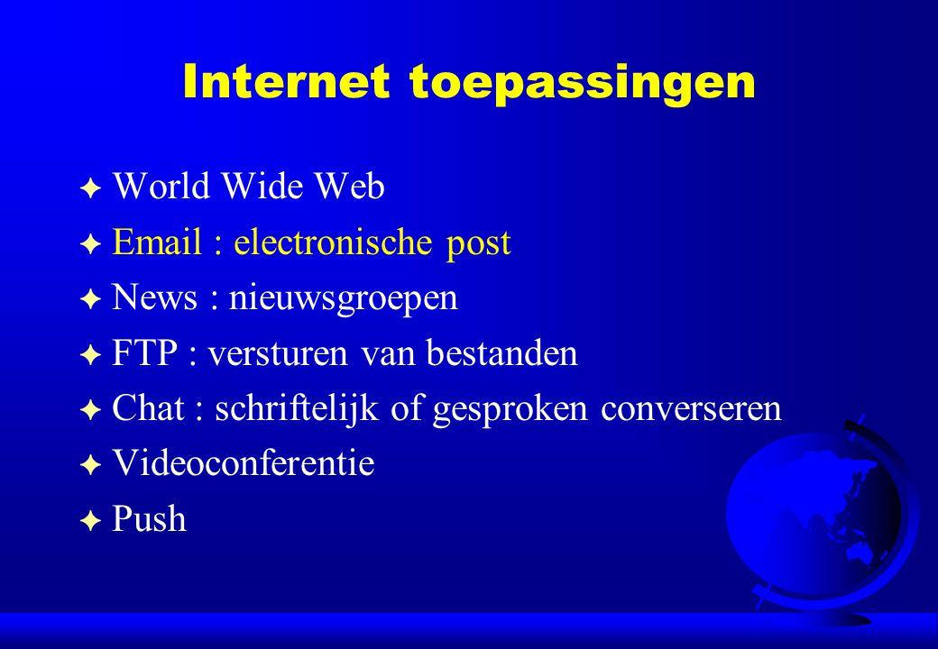Internet toepassingen F World Wide Web F Email : electronische post F News : nieuwsgroepen F FTP : versturen van bestanden F Chat : schriftelijk of ge