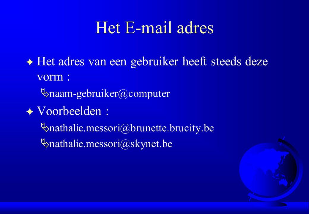 Het E-mail adres F Het adres van een gebruiker heeft steeds deze vorm :  naam-gebruiker@computer F Voorbeelden :  nathalie.messori@brunette.brucity.