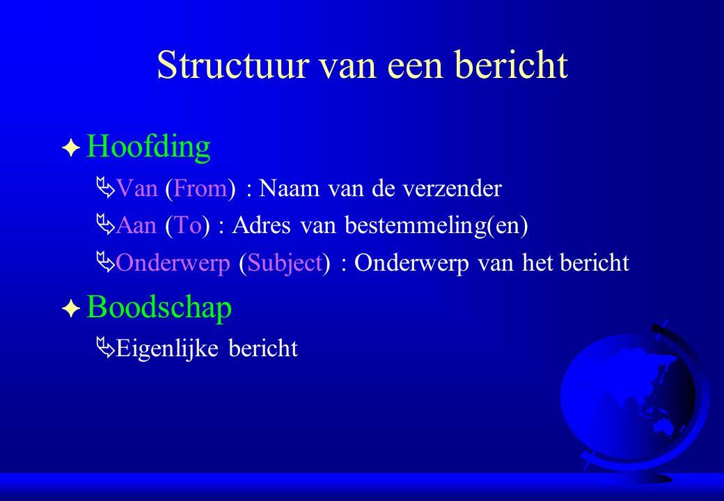 Structuur van een bericht F Hoofding  Van (From) : Naam van de verzender  Aan (To) : Adres van bestemmeling(en)  Onderwerp (Subject) : Onderwerp va