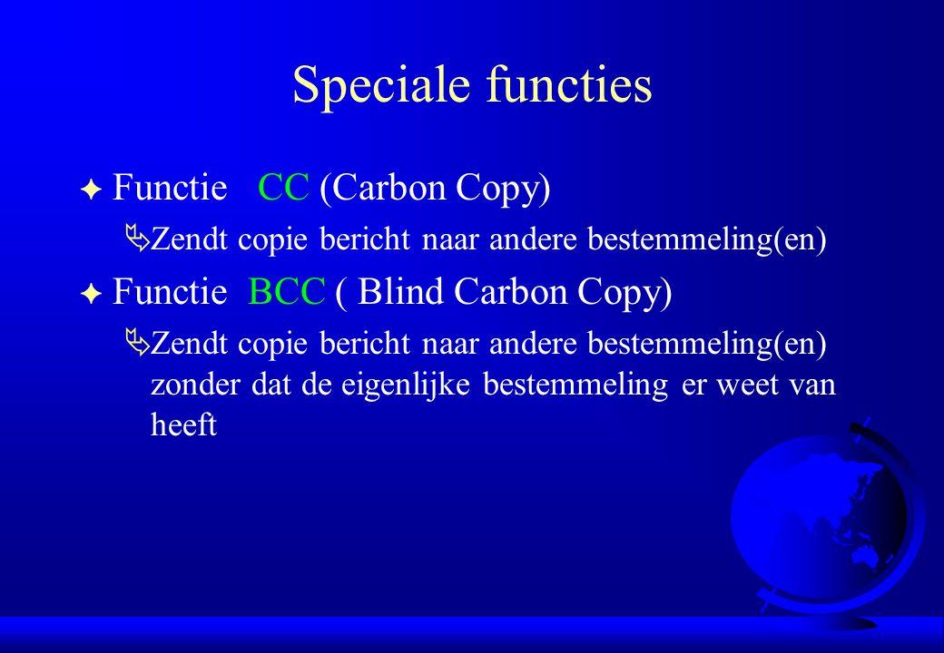 Speciale functies F Functie CC (Carbon Copy)  Zendt copie bericht naar andere bestemmeling(en) F Functie BCC ( Blind Carbon Copy)  Zendt copie beric