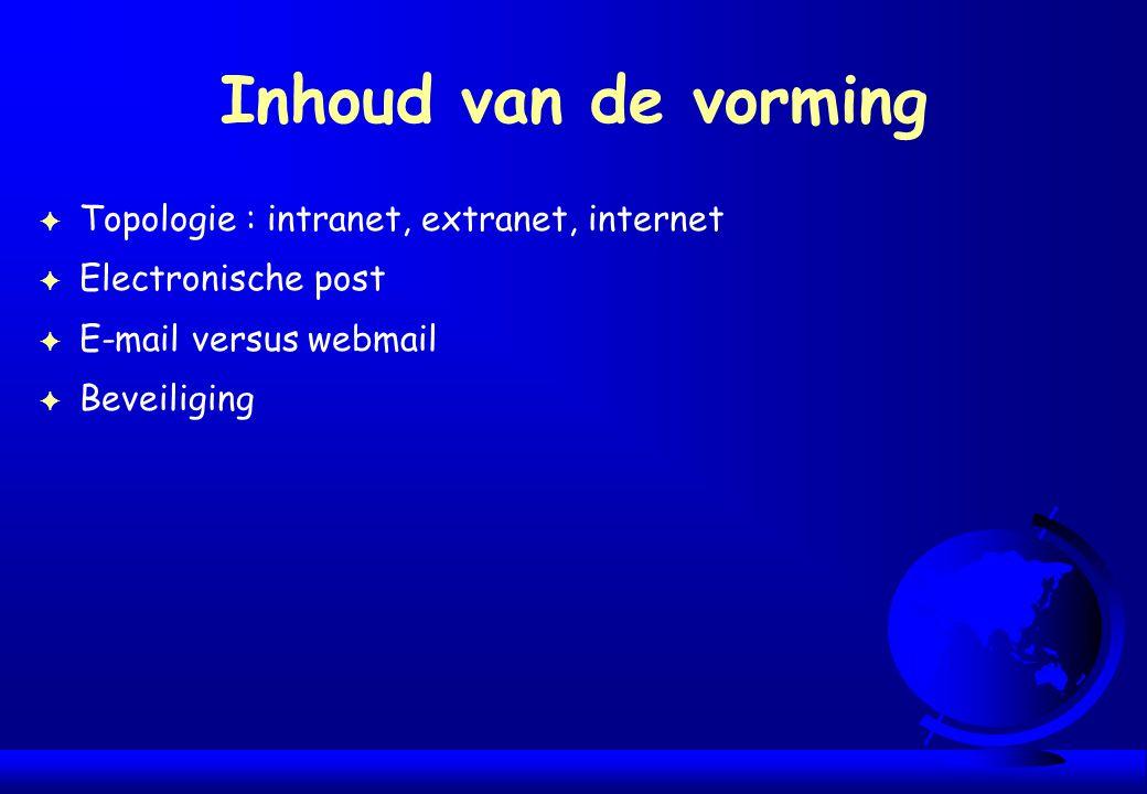 Inhoud van de vorming F Topologie : intranet, extranet, internet F Electronische post F E-mail versus webmail F Beveiliging