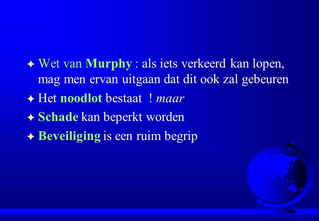 F Wet van Murphy : als iets verkeerd kan lopen, mag men ervan uitgaan dat dit ook zal gebeuren F Het noodlot bestaat ! maar F Schade kan beperkt worde