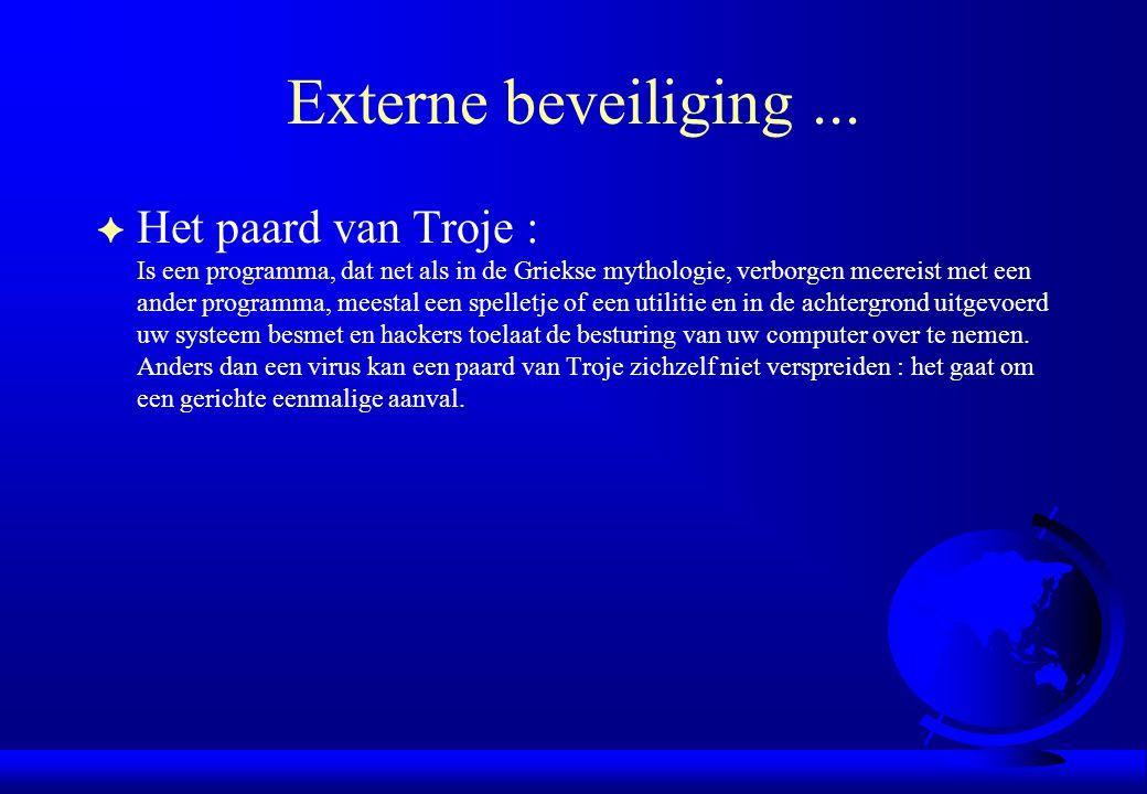 Externe beveiliging... F Het paard van Troje : Is een programma, dat net als in de Griekse mythologie, verborgen meereist met een ander programma, mee