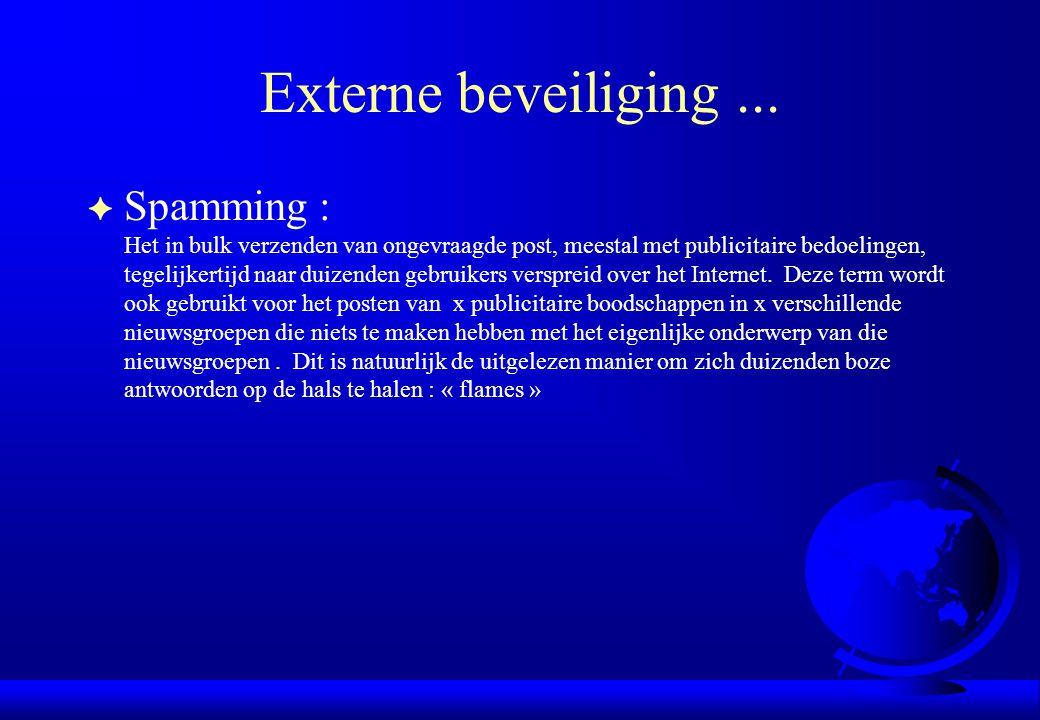 Externe beveiliging... F Spamming : Het in bulk verzenden van ongevraagde post, meestal met publicitaire bedoelingen, tegelijkertijd naar duizenden ge
