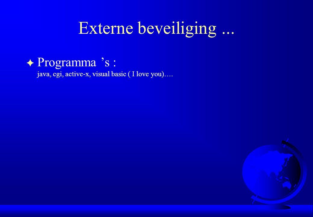 Externe beveiliging... F Programma 's : java, cgi, active-x, visual basic ( I love you)….