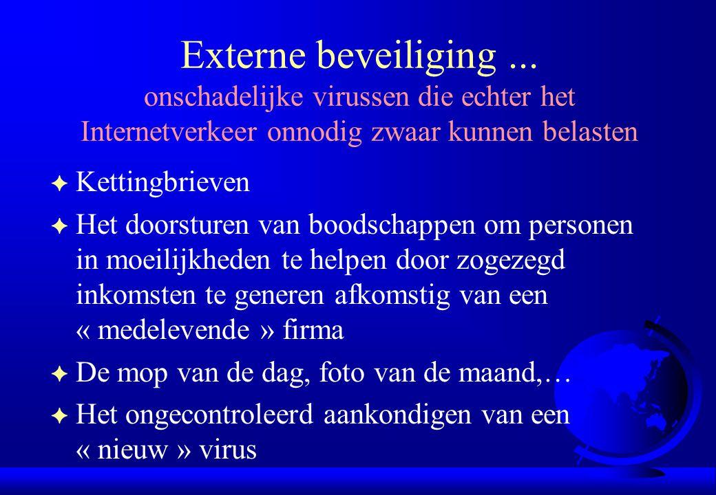 Externe beveiliging... onschadelijke virussen die echter het Internetverkeer onnodig zwaar kunnen belasten F Kettingbrieven F Het doorsturen van boods