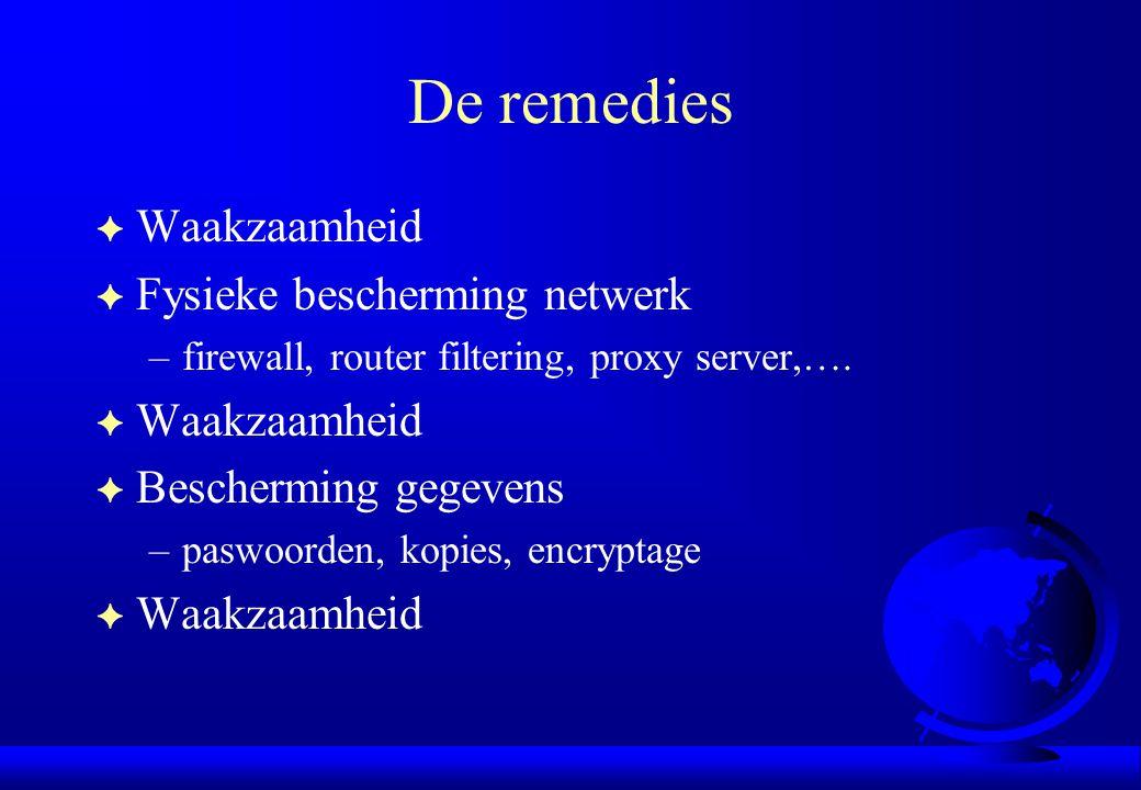 De remedies F Waakzaamheid F Fysieke bescherming netwerk –firewall, router filtering, proxy server,…. F Waakzaamheid F Bescherming gegevens –paswoorde
