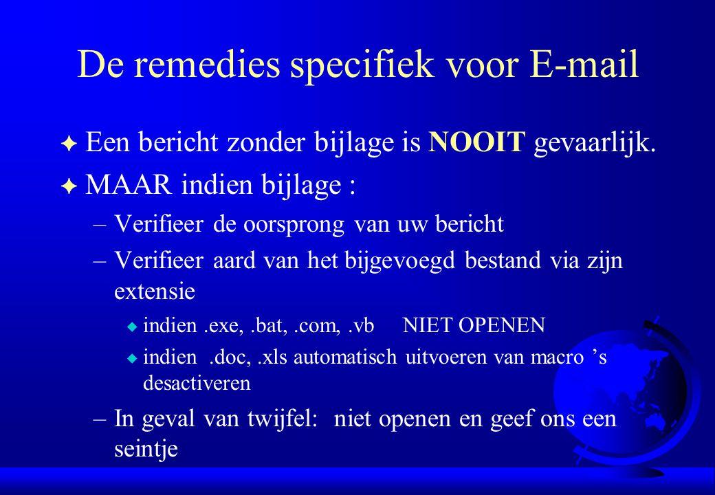 De remedies specifiek voor E-mail F Een bericht zonder bijlage is NOOIT gevaarlijk. F MAAR indien bijlage : –Verifieer de oorsprong van uw bericht –Ve