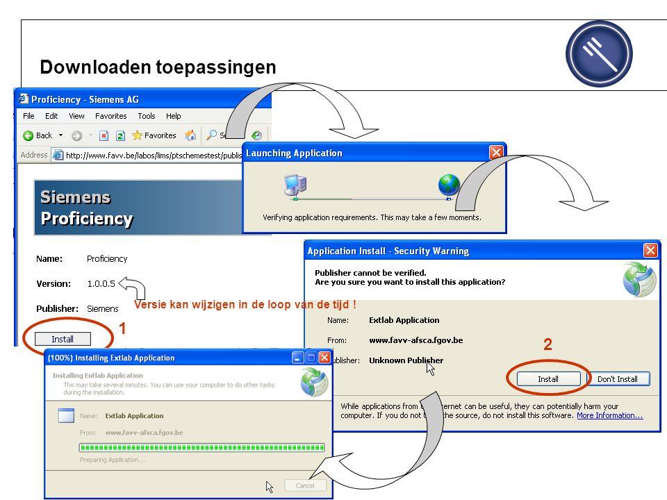 Downloaden toepassingen 1 2 Versie kan wijzigen in de loop van de tijd !