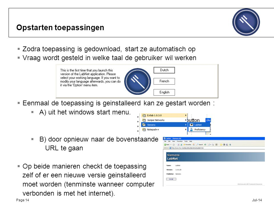 Jul-14Page 14 Opstarten toepassingen  Zodra toepassing is gedownload, start ze automatisch op  Vraag wordt gesteld in welke taal de gebruiker wil we