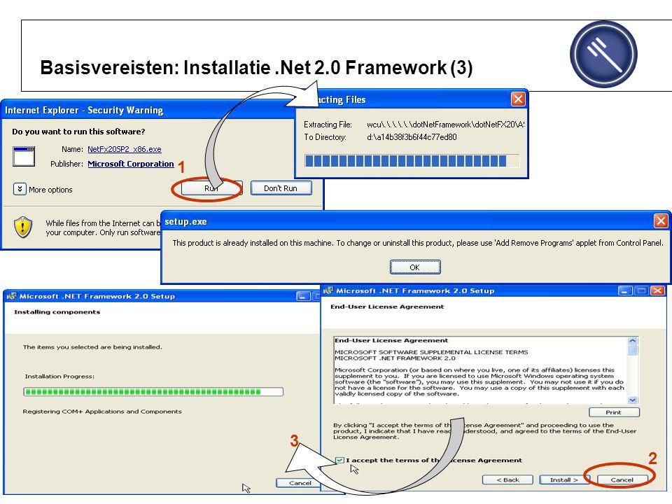 Basisvereisten: Installatie.Net 2.0 Framework (3) 1 3 2 1