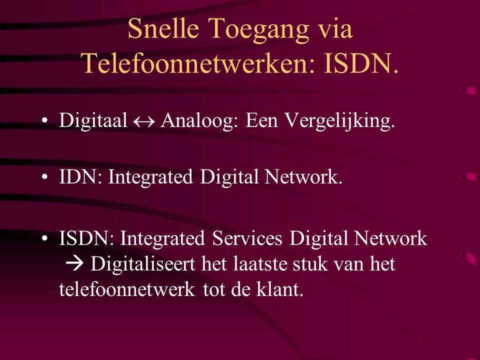 Snelle Toegang via Telefoonnetwerken: ISDN.Hoe.  ISDN-BRI: Telefoonkabel opdelen in : A.