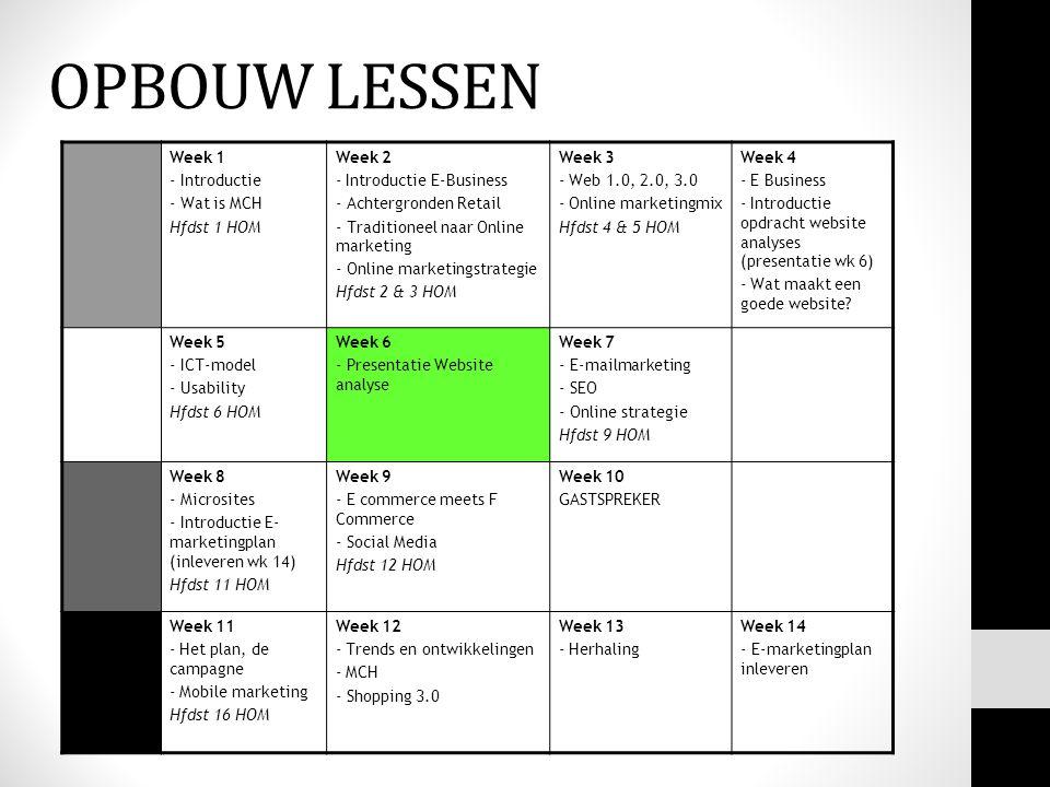 OPBOUW LESSEN Week 1 - Introductie - Wat is MCH Hfdst 1 HOM Week 2 - Introductie E-Business - Achtergronden Retail - Traditioneel naar Online marketin