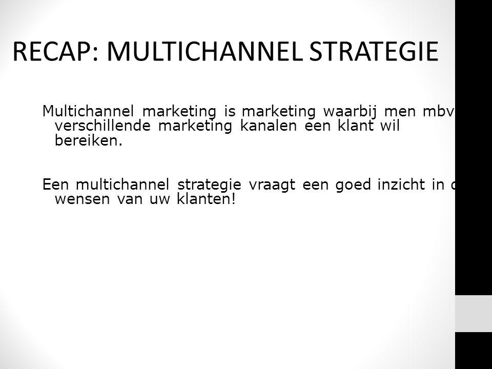 Multichannel marketing is marketing waarbij men mbv verschillende marketing kanalen een klant wil bereiken. Een multichannel strategie vraagt een goed
