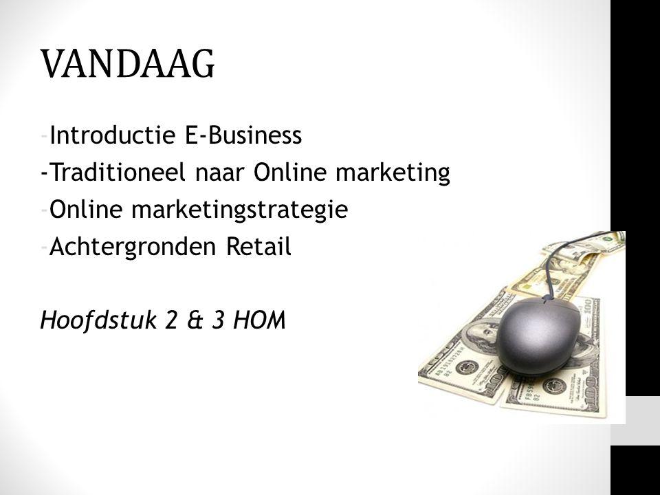 -Introductie E-Business -Traditioneel naar Online marketing -Online marketingstrategie -Achtergronden Retail Hoofdstuk 2 & 3 HOM VANDAAG
