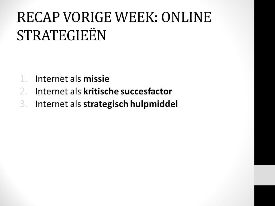 RECAP VORIGE WEEK: ONLINE STRATEGIEËN 1. Internet als missie 2. Internet als kritische succesfactor 3. Internet als strategisch hulpmiddel