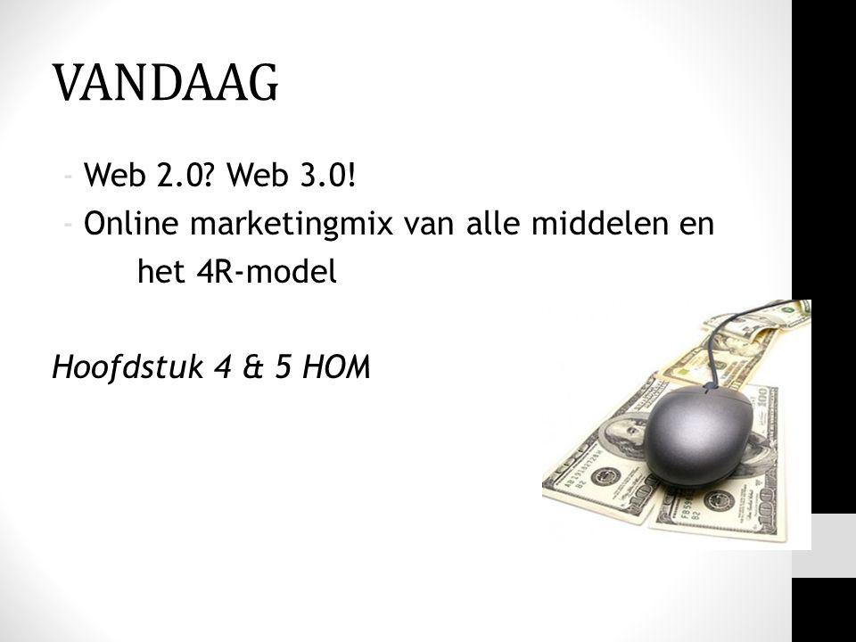 VANDAAG -Web 2.0? Web 3.0! -Online marketingmix van alle middelen en het 4R-model Hoofdstuk 4 & 5 HOM