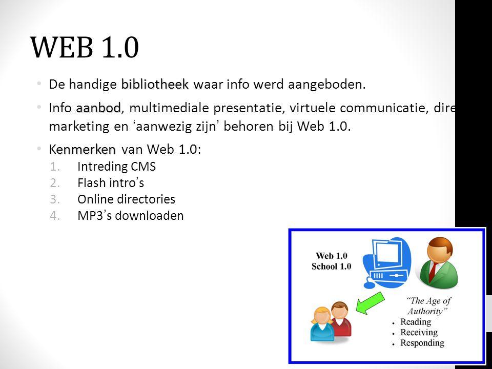 WEB 1.0 bibliotheek De handige bibliotheek waar info werd aangeboden. aanbod Info aanbod, multimediale presentatie, virtuele communicatie, direct mark