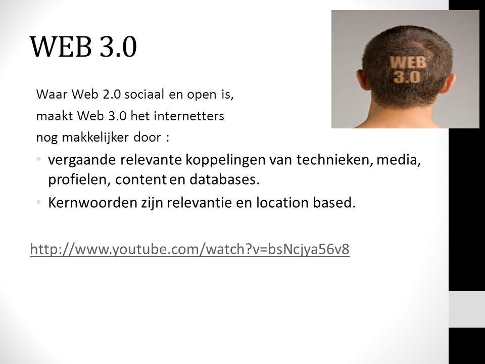 WEB 3.0 Waar Web 2.0 sociaal en open is, maakt Web 3.0 het internetters nog makkelijker nog makkelijker door : vergaande relevante koppelingen van tec