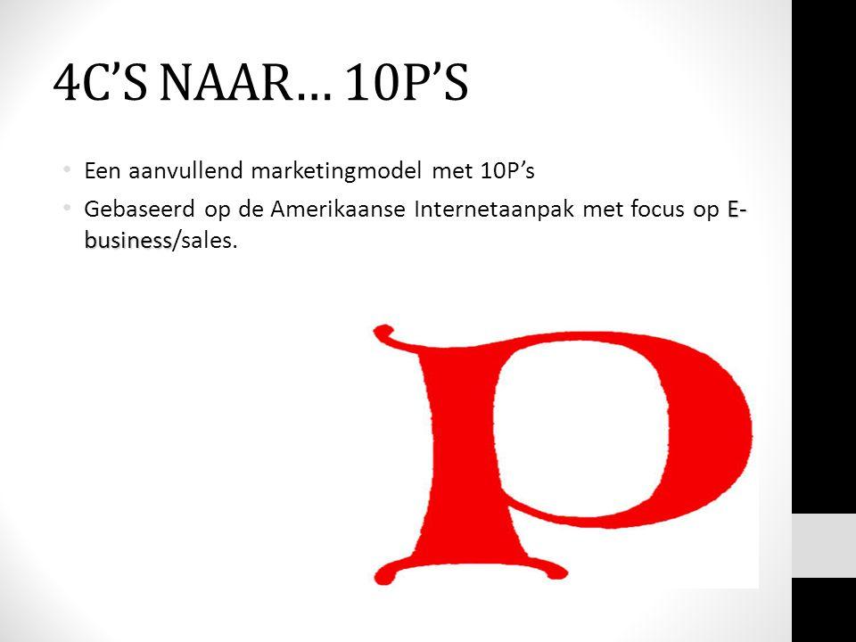 4C'S NAAR… 10P'S Een aanvullend marketingmodel met 10P's E- business Gebaseerd op de Amerikaanse Internetaanpak met focus op E- business/sales.