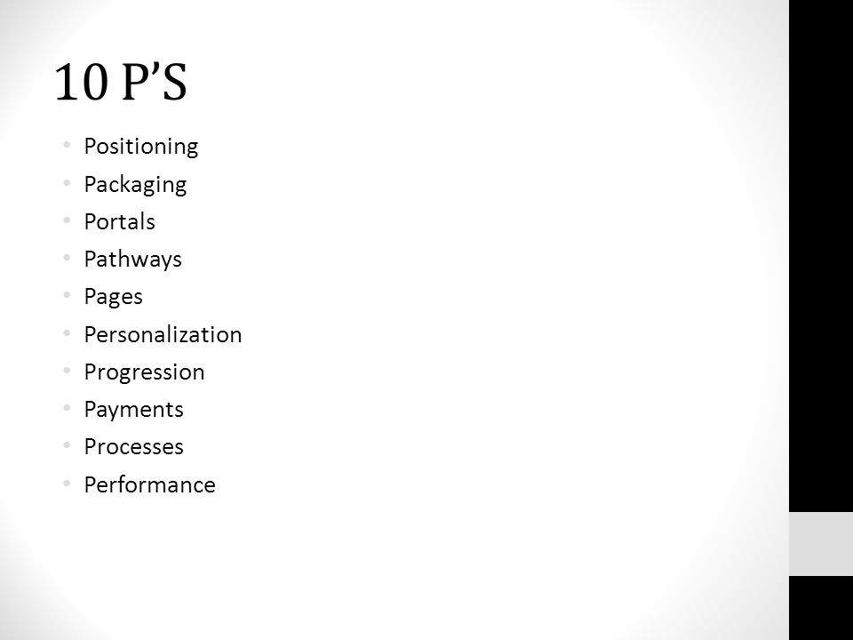 10 P'S Positioning Packaging Portals Pathways Pages Personalization Progression Payments Processes Performance