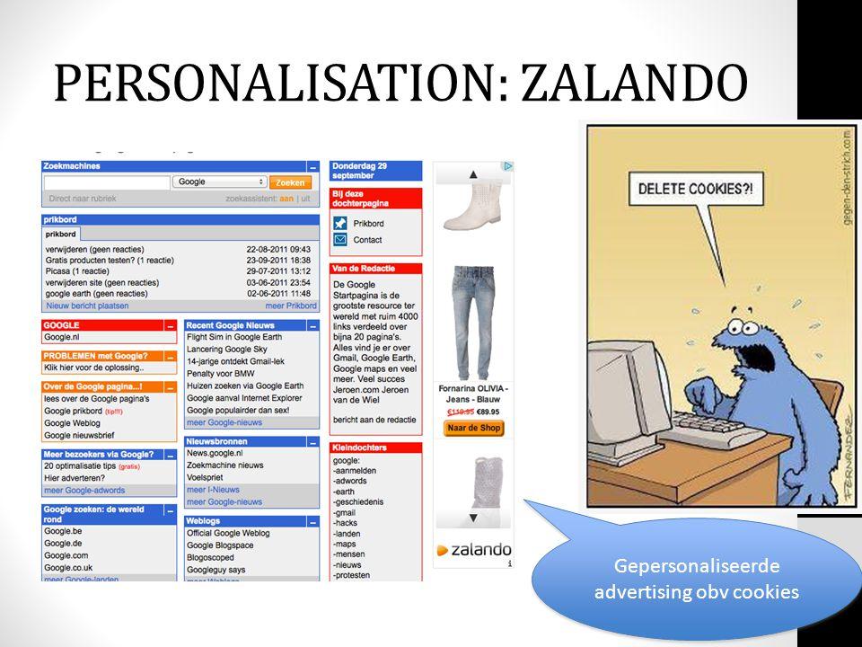 Gepersonaliseerde advertising obv cookies PERSONALISATION: ZALANDO